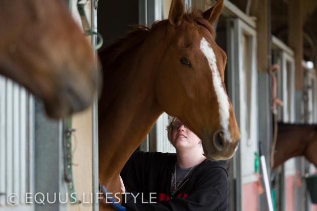 Kayla calms an exited horse.
