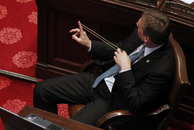 Sen. Dan Sparks, taking aim on the Senate floor