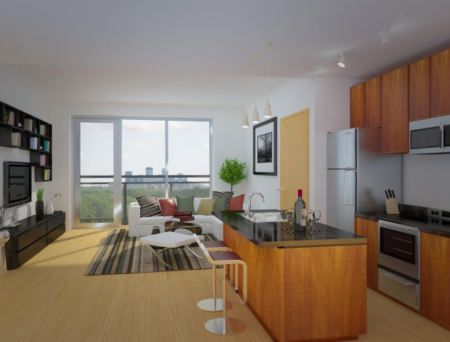 An artist's rendering of an apartment at 36 Park