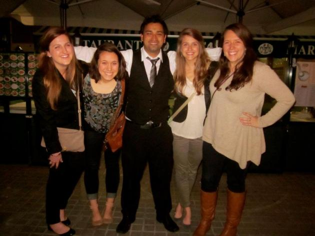 Kelsey, Tina, Leah and I with our friendly waiter Sol