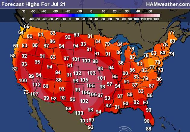 Us High Temperature Map Tomorrow Globalinterco - Us map with temperatures