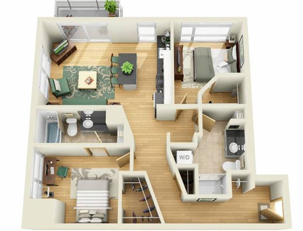 A rendering of a two-bedroom unit. (Tushie Montgomery Architects)