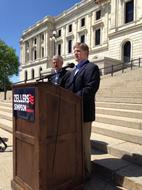 Kurt Zellers, right, introduces GOP running mate, Dean Simpson