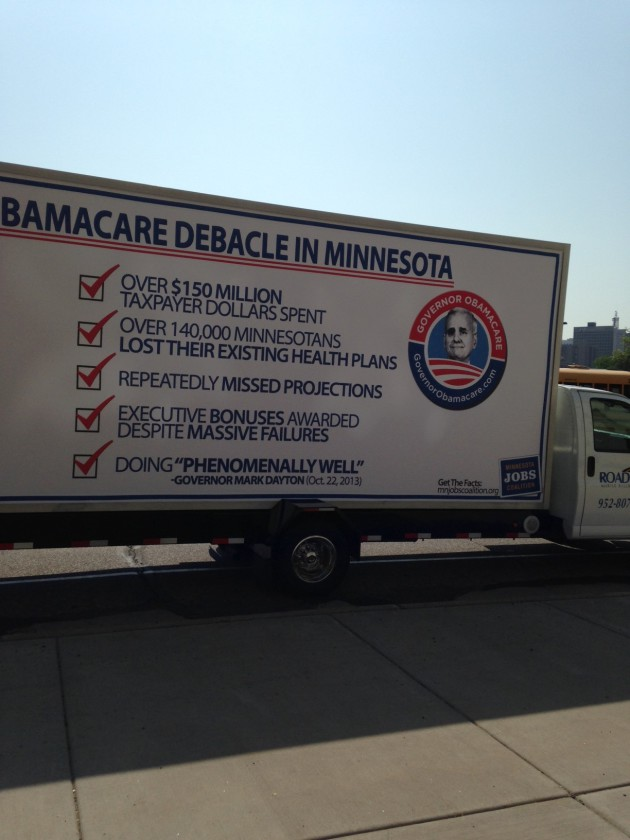 Truck greeting Gov. Mark Dayton outside Secretary of State's office.
