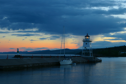 Grand Marais sunsets feature plenty of blue, gold and orange
