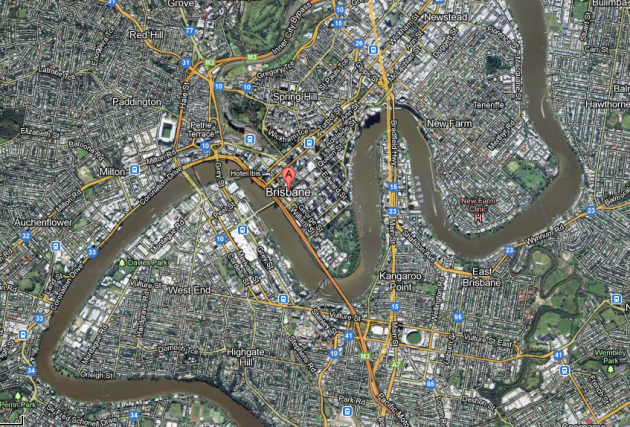 taken from Google Maps. This is part of the Brisbane River.