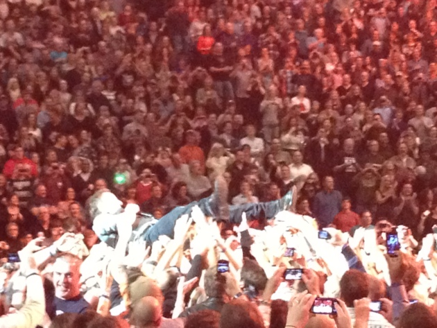 "Crowd-surfing in ""Hungry Heart"""