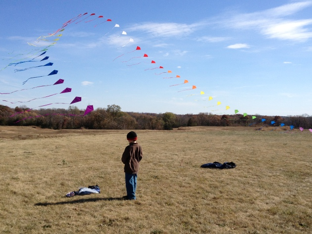 James Farrelly, age 6, watched an arch of kites fly in River Falls, Wis. on Sunday