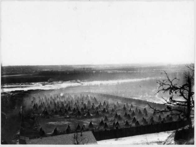Captured Dakota below Fort Snelling in 1862