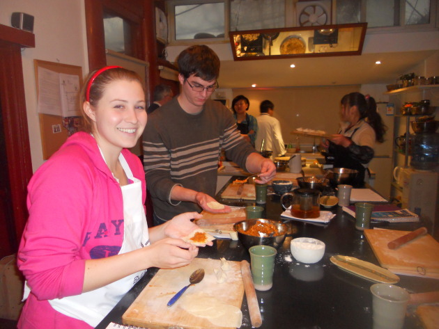 My classmates Emily and Jeff making homemade dumpling wrappers. It's surprisingly difficult!