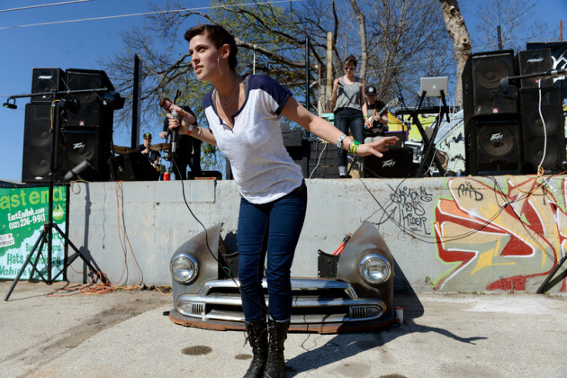 Dessa climbed off stage outside a car wash in east Austin.