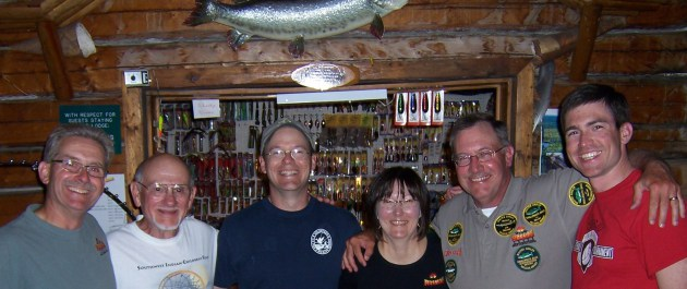 My dad and me (far right) at Fireside Lodge with the owners and another father-son duo we met at the lodge 10 years ago on our first trip. Their annual trip is always the same week as ours, so we've become fishing buddies.