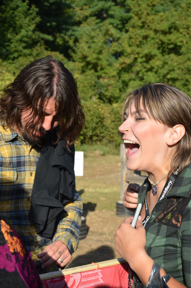 Grohl with 93X winner Erica Lewandowski