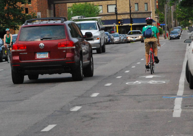 Advisory bike lanes such as these on E. 14th Street in Minneapolis have come to Edina.