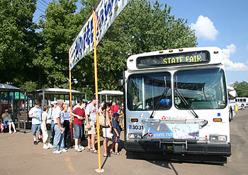 Riders board a State Fair Express bus;  photo: Met Council