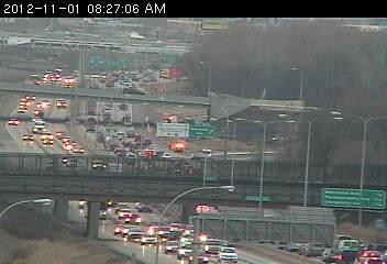 Traffic on southbound 35E heading into St. Paul.