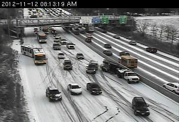 Slippery conditions on 35W south at Lake Street