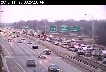A traffic jam on northbound 35E at Roselawn Avenue.