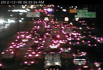 Traffic in the 35W/Crosstown Commons. A crash at 50th St is causing the traffic jam