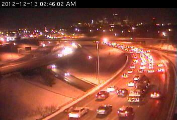 A traffic jam on 35W south at Johnson.