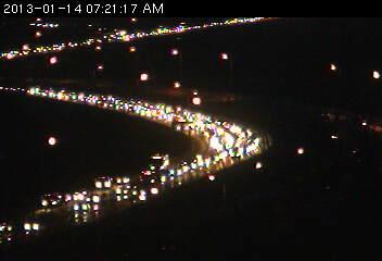 Traffic jam on Cedar Avenue at the Minnesota River Bridge