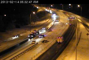 Spinout on the Crosstown Hwy. at Tracy Avenue.