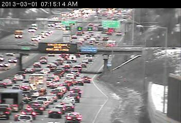 Traffic on northbound 35W at 46th Street in <a href=