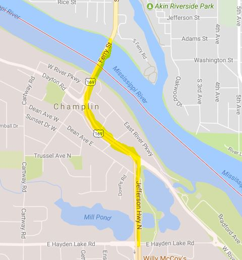 Single Lane Traffic Begins This Morning On Hwy 169 In Champlin