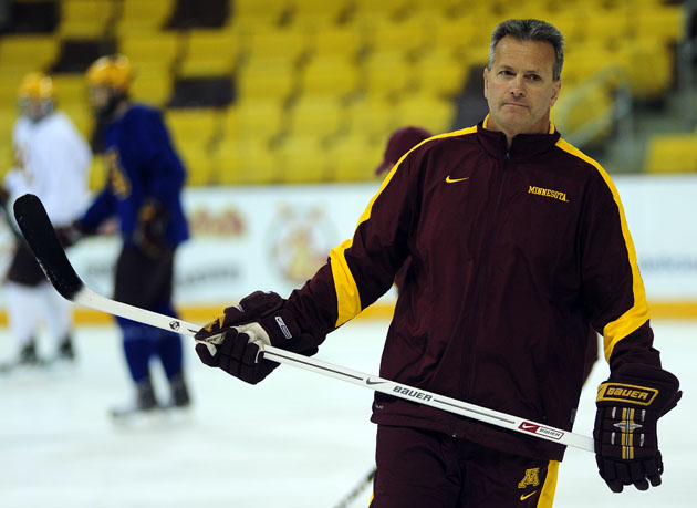 Gophers coach Don Lucia was all-business at today's pre-game skate at Amsoil Arena. Howie Hanson / For StarTribune.com