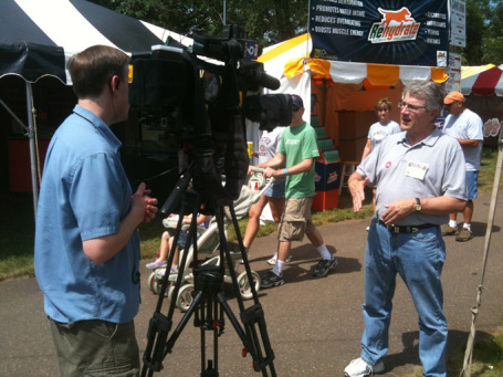 Independence candidate Tom Horner at Game Fair being interviewed by Fox 9 News