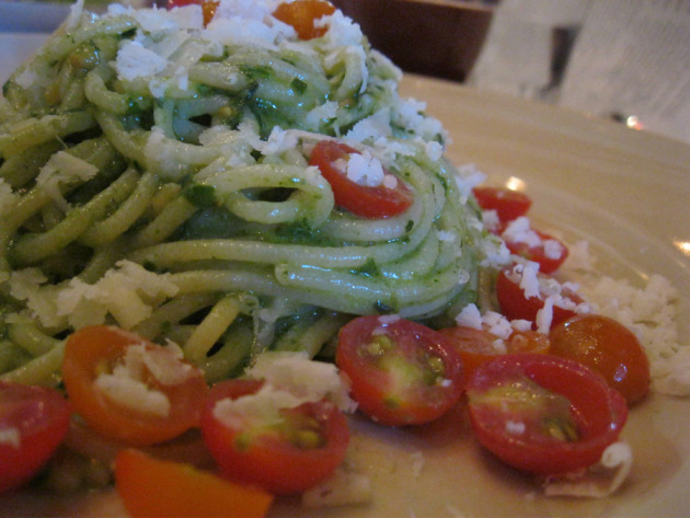 House made spaghetti with pesto and cherry tomatoes