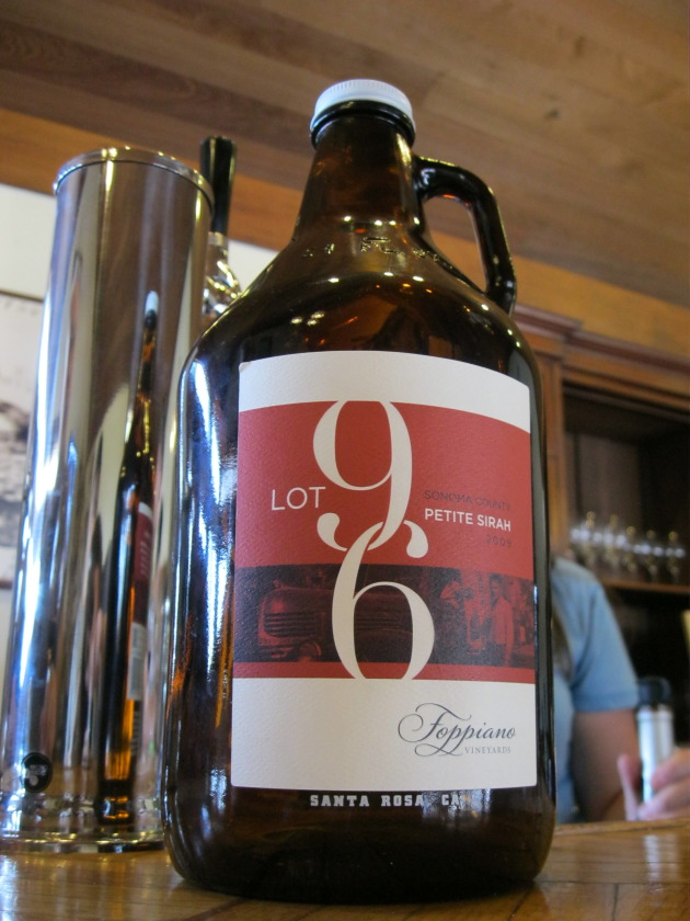 Going back to an earlier time, the Foppiano tasting room just added a tap of their wine, Lot 96. Locals can now buy the gallon bottle, then refill it for $20 a shot.