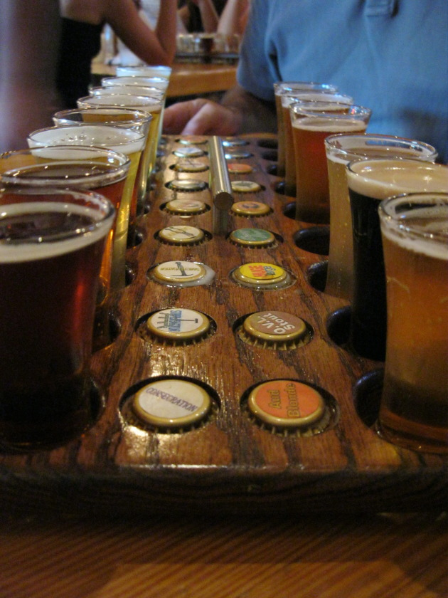 Beer flight at Russian River Brewing
