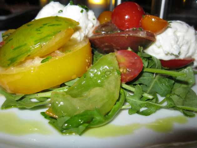 Heirloom tomato and homemade mozzarella salad