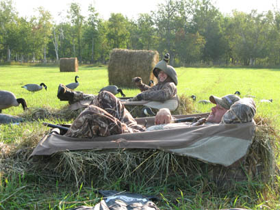 There's a lot of fun to be had during the early goose season--like the author wearing a decoy shell as a makeshift hat (not really!)