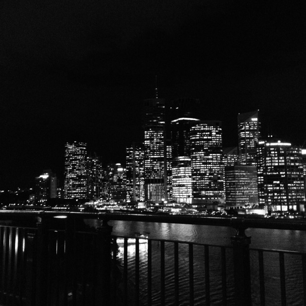 Brisbane at night in Black and White.