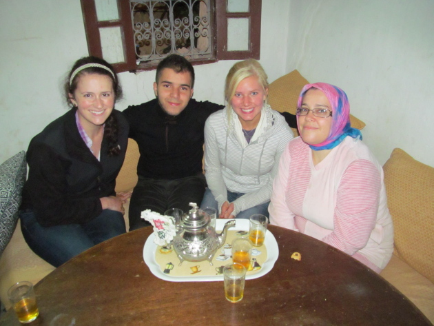 Tea time with the family. From right to left: Katie Sieger, Taha (host brother age 20), Me, and Khadija (host mother)