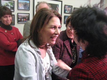 Rep. Michele Bachmann greets Franni Franken, Al Franken's wife.