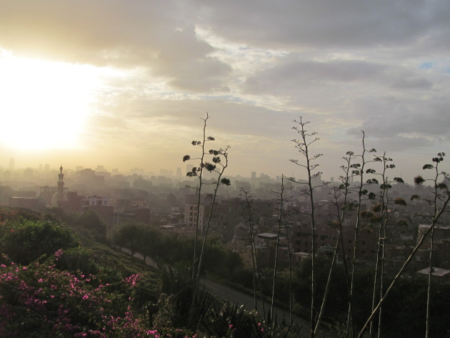 A beautiful sunset view of Cairo from one of the lookouts in the park