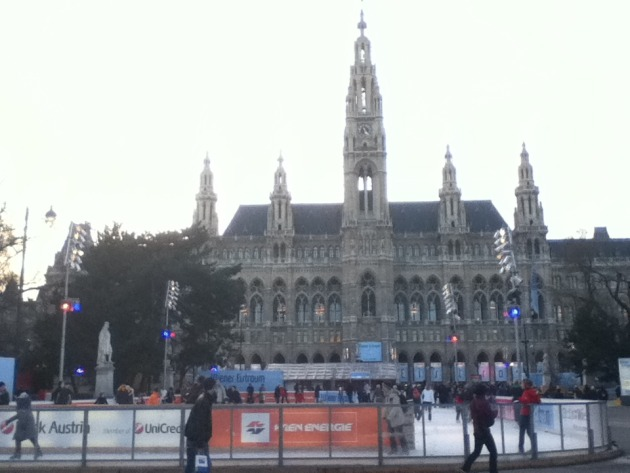 The town hall with an ice rink out front.