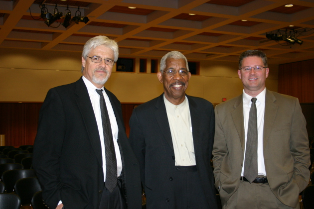 """St. Cloud State University's Daniel Wildeson and Kyle Ward with Ernest """"Rip"""" Patton, Jr."""