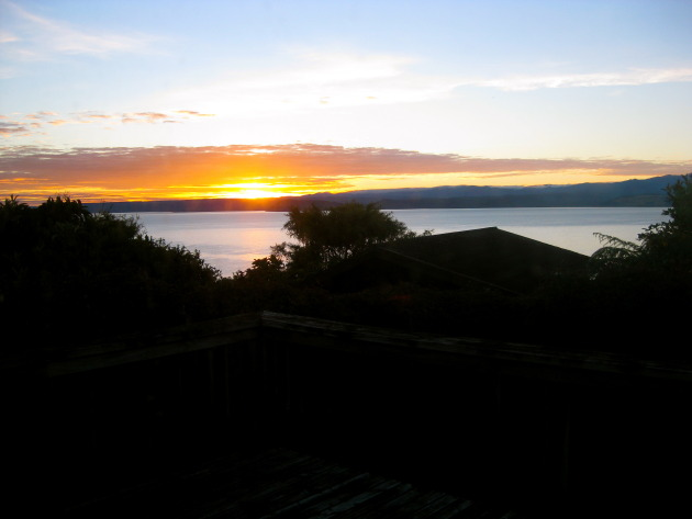 Sunrise over Lake Taupo as seen from Omori.