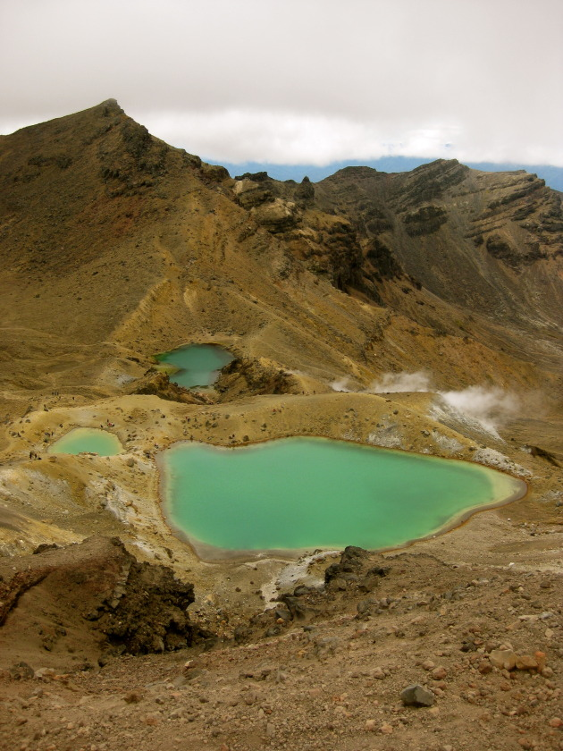 The Emerald Lakes. The steam you see comes from Sulfur vents, a sign the volcano is still active!