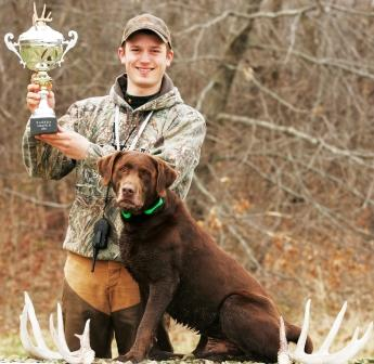 Josh Miller and his Lab, Easton, winners of the open division at the first ever World Shed Dog Hunting championship. To date, most shed dogs are Labs. Photo © Mark Palas