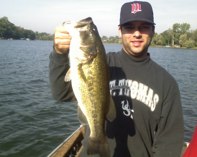 Ryan with his biggest bass of the season, caught on a Rapala Clackin' Minnow.