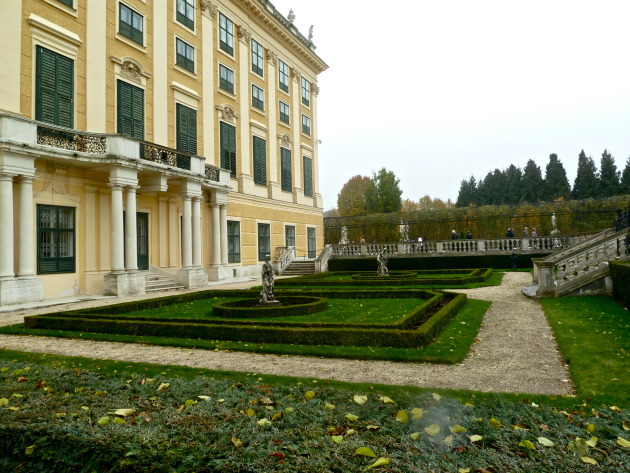 the side of Schonbrunn Palace