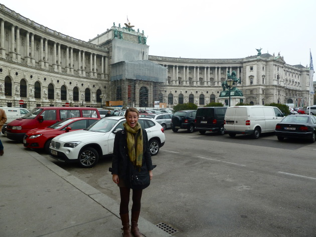 Outside of the Habsburg Palace, Vienna. Don't mind the construction!