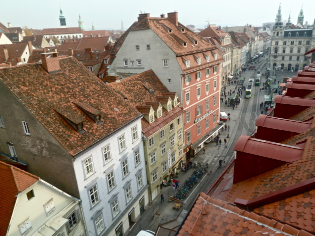 The red rooftops Graz is known for.