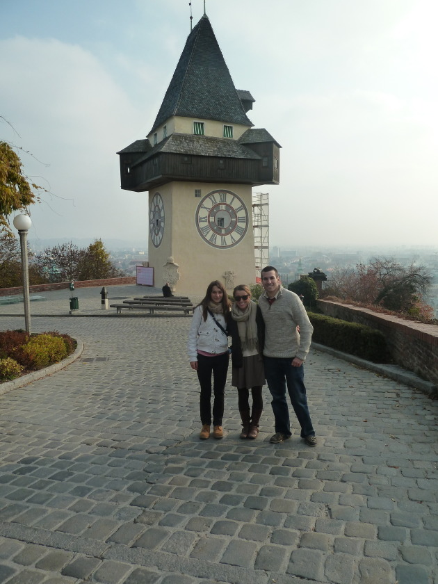 In front of the clock tower