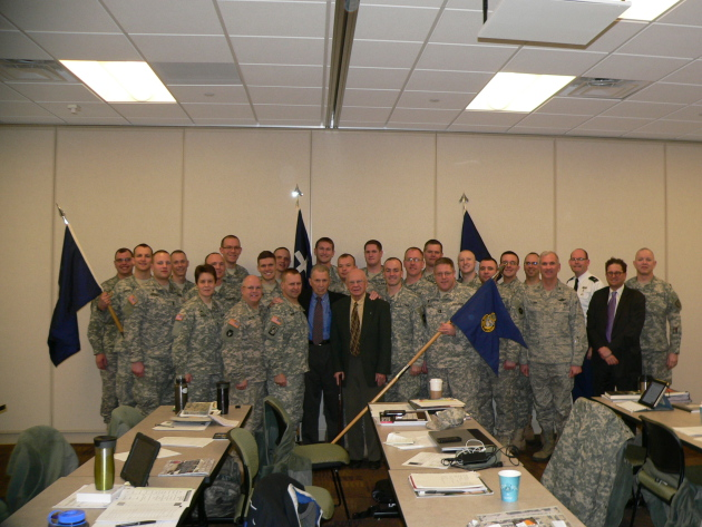 Col. (Ret.) Edward Shames and Sgt. (Ret.) Herb Suerth meeting with Chaplains of the Minnesota National Guard.